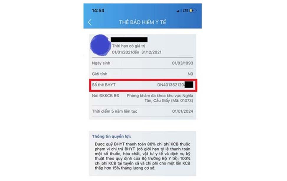 Thông tin về thẻ BHYT của người dùng